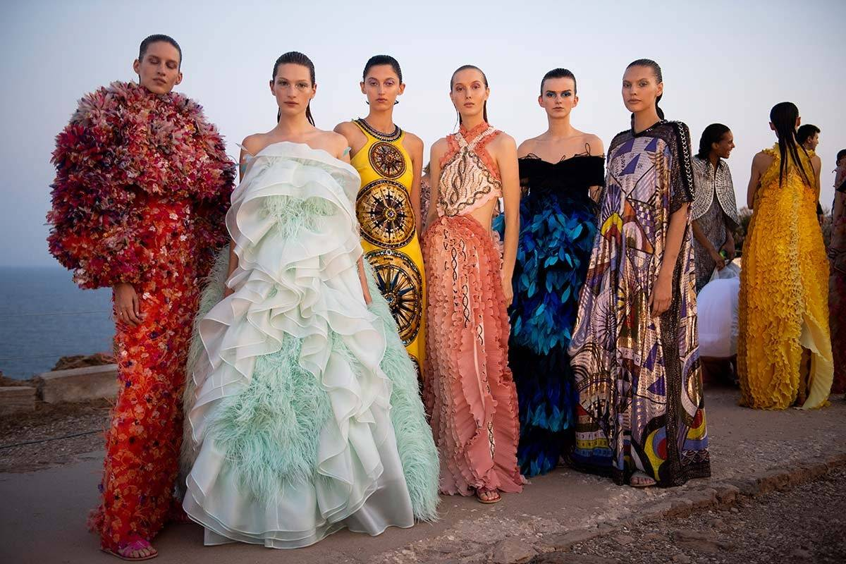 Mary Katrantzou SS20 show at Greece's Temple of Poseidon