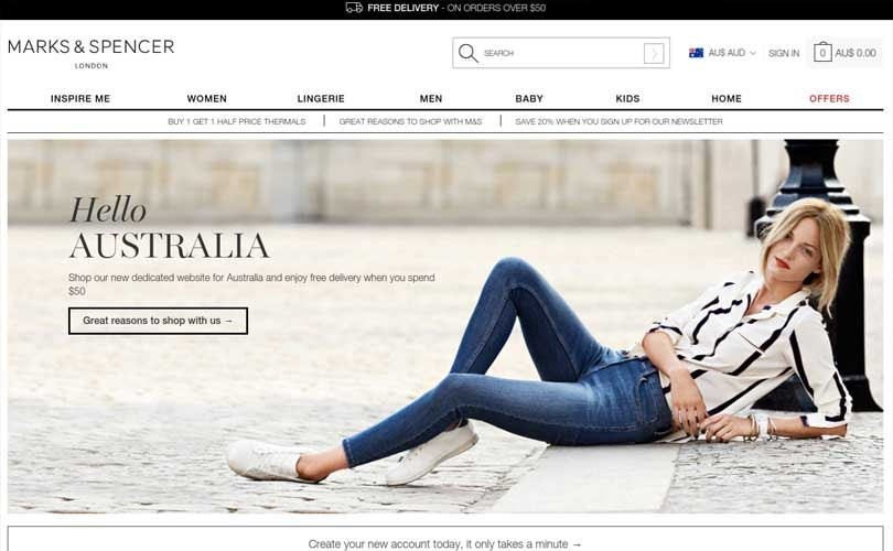 Marks   Spencer steps into  the land down under  with dedicated website  launch 746682177